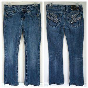 MISS ME Rhinestone Wings Boot Cut Low Rise Jeans
